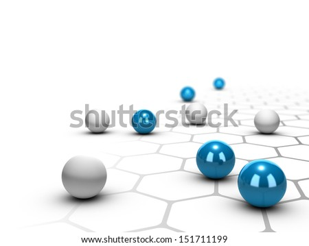 Blue balls over a grey network design, White background, networking concept - stock photo