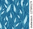 Blue Bamboo Leaves Seamless Pattern Background raster - stock photo