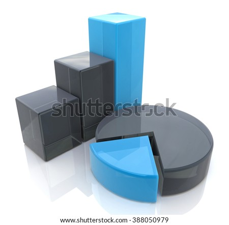 Blue bar and pie graph in the design of information related to business and economy - stock photo
