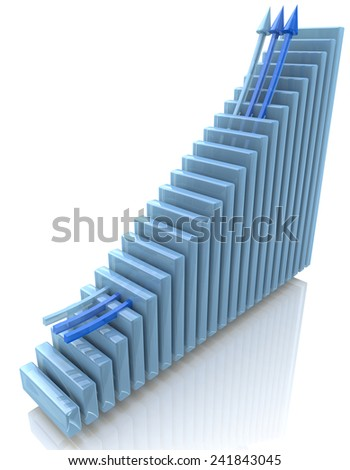 Blue bar chart and arrow depicting growth of profits  - stock photo