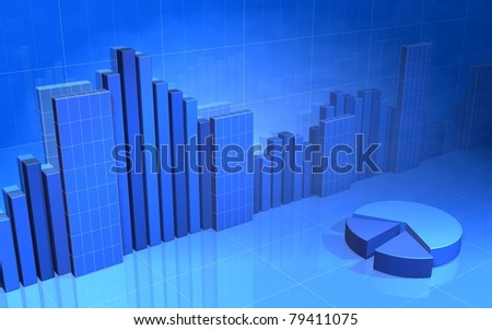 Blue Bar Chart Wire frame - stock photo