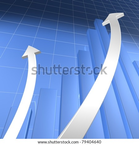 Blue Bar Chart with White Arrows - stock photo