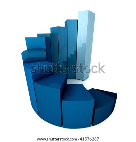 Blue bar graph isolated over a white background