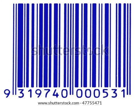 blue barcode - stock photo