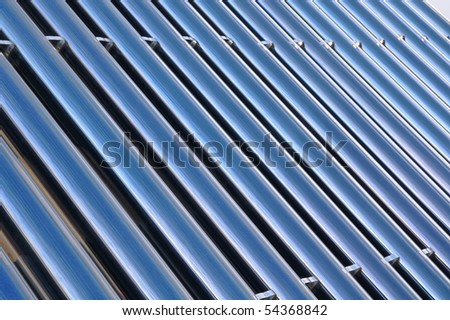 blue bars of a solar heating system - stock photo