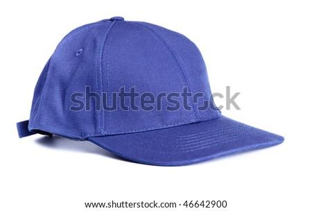 blue baseball cap isolated on white background - stock photo