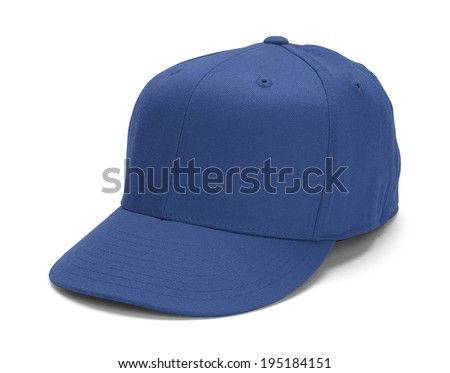 Blue Baseball Hat With Copy Space Isolated on White Background.