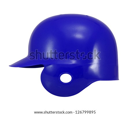 blue baseball helmet on white. - stock photo