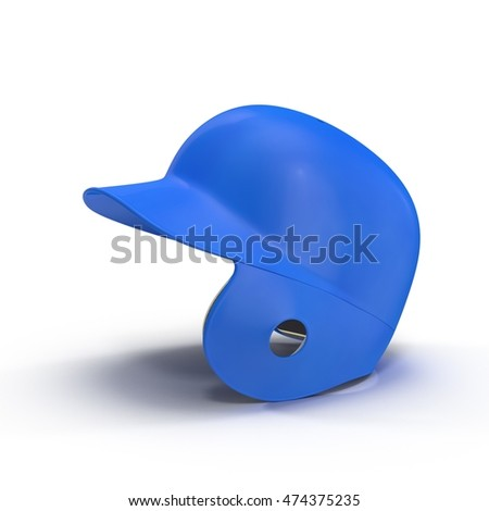 Blue baseball helmet on white 3D Illustration