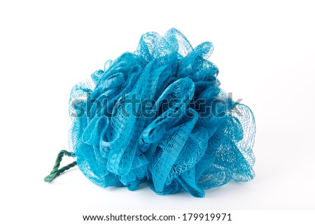 Blue bath sponge - stock photo