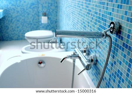 Blue bathroom closeup - stock photo