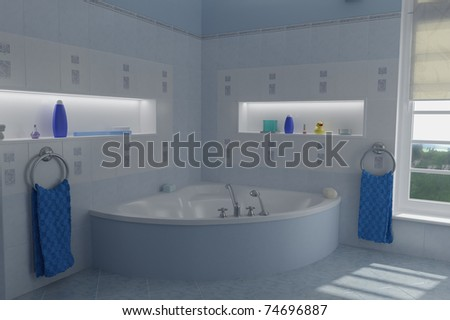 Blue bathroom with two blue towels