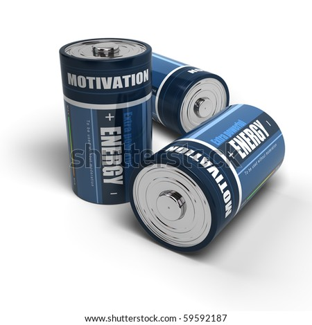 blue batteries energy for motivation, battery is isolated on a white background