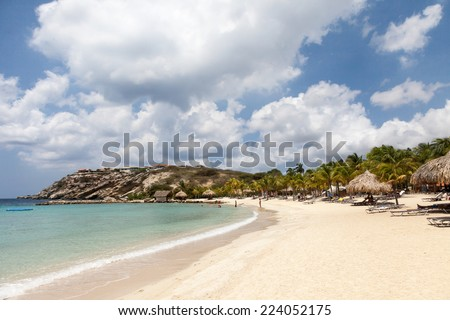 Blue Bay Beach in Curacao a Caribbean Island in the Caribbean - stock photo