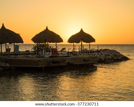 Blue Bay Beach Sunset - On the Caribbean Island of Curacao in the Dutch Antilles