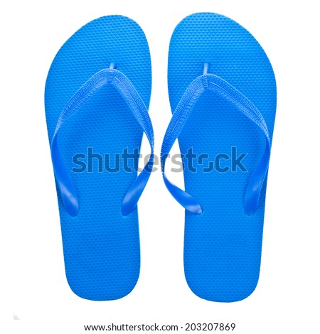blue beach sandals flip flops  isolated on white background - stock photo