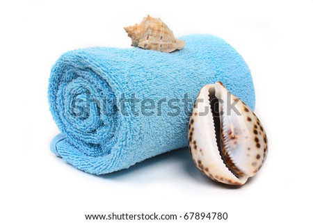 Blue beach towel with seashells on white background - stock photo