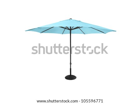 Blue beach umbrella isolated on white background - stock photo
