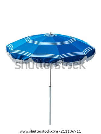 Blue beach umbrella isolated on white. Clipping path included. - stock photo
