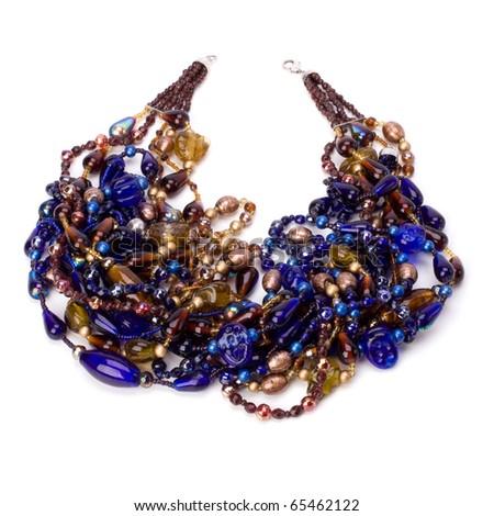 blue beads isolated on white background - stock photo
