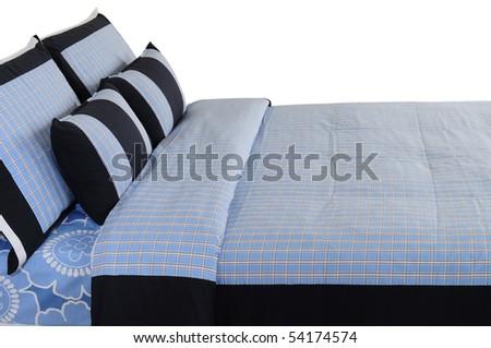 Blue bedding. Isolated - stock photo