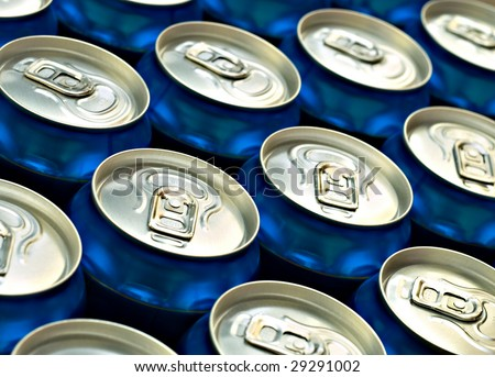 Blue beer cans - stock photo
