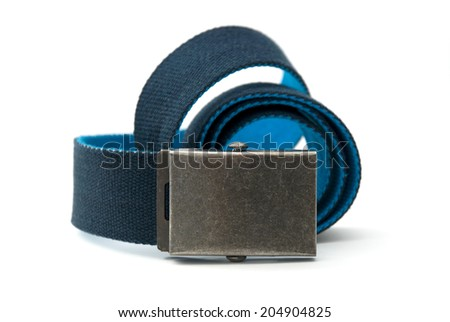 Blue belt with square buckle   - stock photo