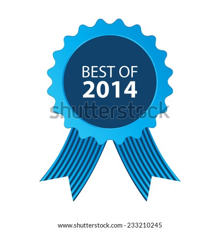 blue best of 2014 badge with ribbon - stock photo