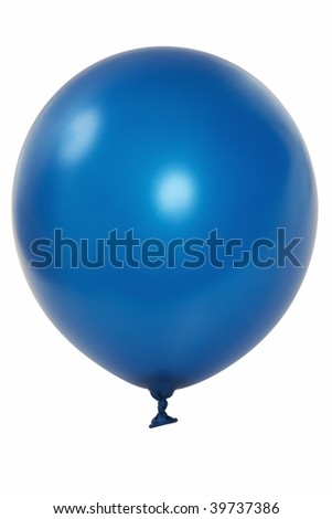 Blue big balloon  isolated on white background (with clipping path)