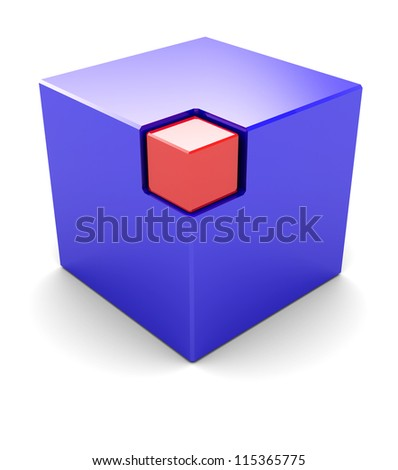 Blue big cube with red small box in the corner - stock photo