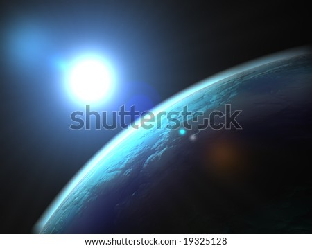 Blue big planet in the deepest space