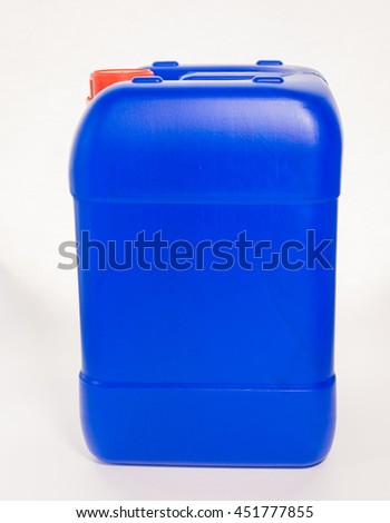 Blue big plastic canister, container; isolated on white background  - stock photo