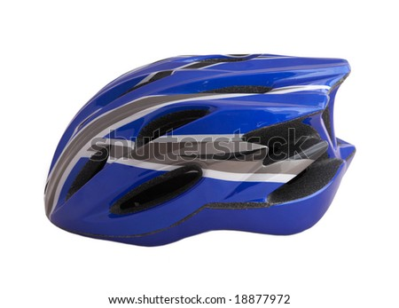 blue bike helmet isolated on white background.