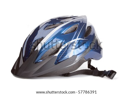 Blue bike helmet on white background.