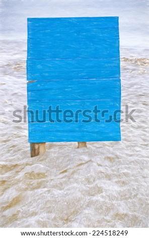 blue billboard on beach  -- illustration based on own photo image - stock photo