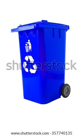 Blue Bin, Trash Bin with recycle logo isolated on white with path.