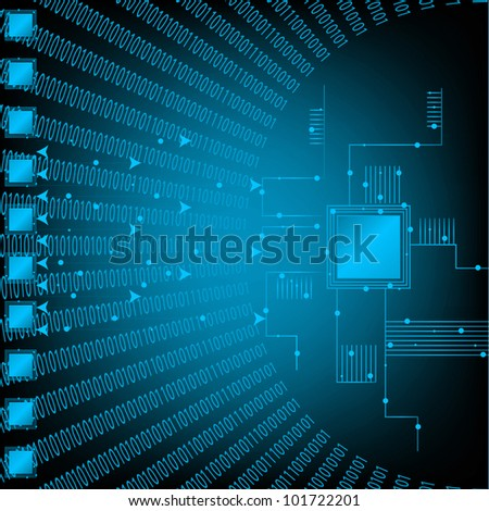 Blue Binary Technology Background. Eps Version Also Available In Gallery. - stock photo