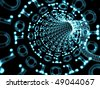 Blue binary tunnel that suggests computer data flow. Communication concept. - stock photo