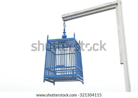 Blue Bird Cage - stock photo