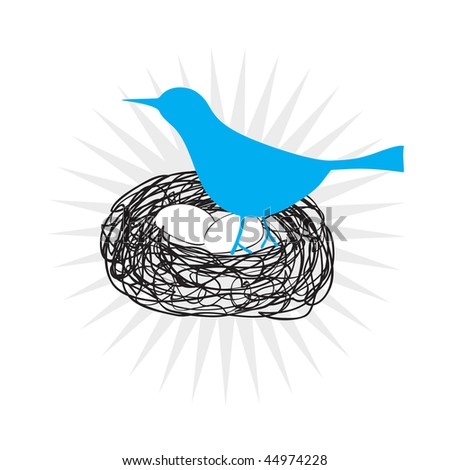 Blue bird icon sitting in a nest on its eggs isolated over white. - stock photo