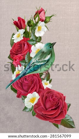 blue bird on a branch of red roses and white wild rose - stock photo