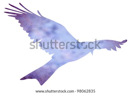 blue bird painted with watercolors isolated on white - stock photo