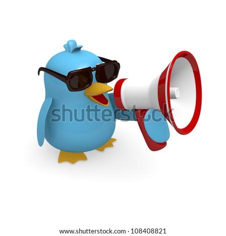 Blue bird with a megaphone - stock photo