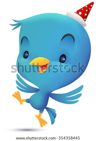 Blue Bird with hat dancing - stock photo