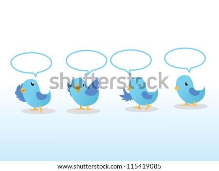 blue birds in line - stock photo