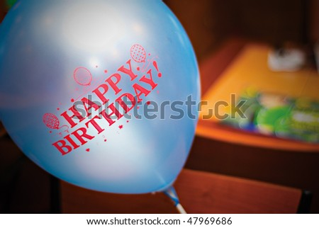 Blue Birthday Balloon - stock photo