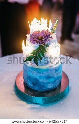 Blue Birthday Cake Decorated Violet Flower Stock Photo Royalty Free