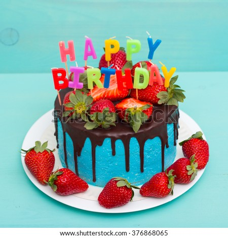 Blue Birthday Cake Happy Birthday Candles Stock Photo 376868092