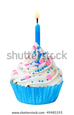 Blue birthday cupcake - stock photo