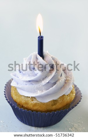 Blue birthday cupcake - stock photo